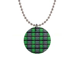 Pattern Tile Green Purple Button Necklaces by BrightVibesDesign
