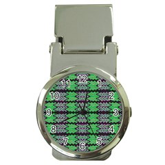 Pattern Tile Green Purple Money Clip Watches by BrightVibesDesign