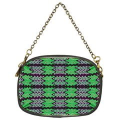 Pattern Tile Green Purple Chain Purses (one Side)  by BrightVibesDesign
