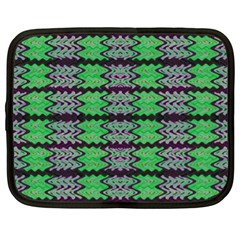 Pattern Tile Green Purple Netbook Case (xl)  by BrightVibesDesign