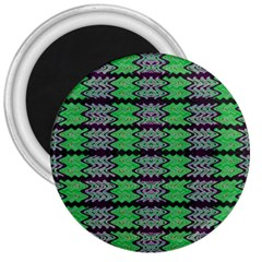 Pattern Tile Green Purple 3  Magnets by BrightVibesDesign