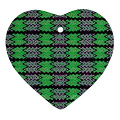 Pattern Tile Green Purple Ornament (heart)  by BrightVibesDesign