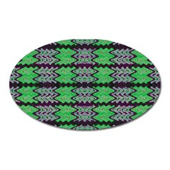 Pattern Tile Green Purple Oval Magnet by BrightVibesDesign