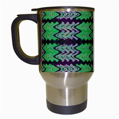 Pattern Tile Green Purple Travel Mugs (white) by BrightVibesDesign