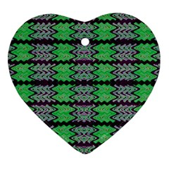 Pattern Tile Green Purple Heart Ornament (2 Sides) by BrightVibesDesign