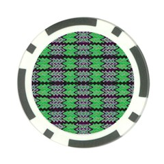Pattern Tile Green Purple Poker Chip Card Guards by BrightVibesDesign