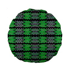 Pattern Tile Green Purple Standard 15  Premium Round Cushions