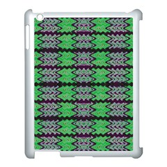 Pattern Tile Green Purple Apple Ipad 3/4 Case (white) by BrightVibesDesign
