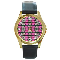 Pattern Tile Pink Green White Round Gold Metal Watch by BrightVibesDesign