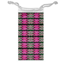 Pattern Tile Pink Green White Jewelry Bags by BrightVibesDesign