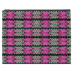 Pattern Tile Pink Green White Cosmetic Bag (xxxl)  by BrightVibesDesign