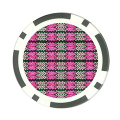 Pattern Tile Pink Green White Poker Chip Card Guards by BrightVibesDesign