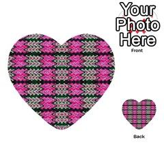 Pattern Tile Pink Green White Multi Purpose Cards (heart)  by BrightVibesDesign