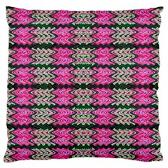 Pattern Tile Pink Green White Large Flano Cushion Case (two Sides) by BrightVibesDesign