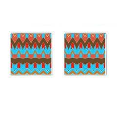Blue Brown Chevrons                                                                       			cufflinks (square) by LalyLauraFLM