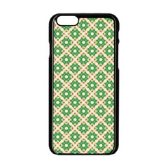 Crisscross Pastel Green Beige Apple Iphone 6/6s Black Enamel Case by BrightVibesDesign