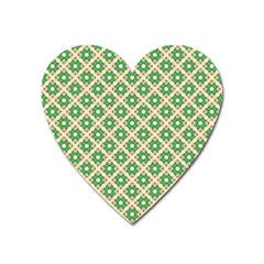 Crisscross Pastel Green Beige Heart Magnet by BrightVibesDesign