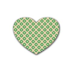Crisscross Pastel Green Beige Heart Coaster (4 Pack)  by BrightVibesDesign