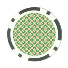 Crisscross Pastel Green Beige Poker Chip Card Guards by BrightVibesDesign