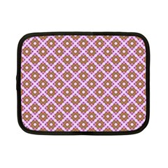 Crisscross Pastel Pink Yellow Netbook Case (small)  by BrightVibesDesign