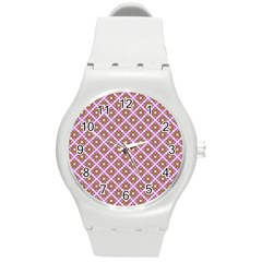 Crisscross Pastel Pink Yellow Round Plastic Sport Watch (m) by BrightVibesDesign