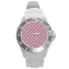 Crisscross Pastel Pink Yellow Round Plastic Sport Watch (l) by BrightVibesDesign