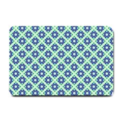 Crisscross Pastel Turquoise Blue Small Doormat  by BrightVibesDesign