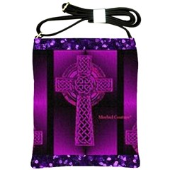 Purple Celtic Cross Shoulder Sling Bags by morbidcouture