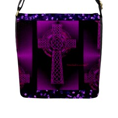 Purple Celtic Cross Flap Messenger Bag (l)  by morbidcouture