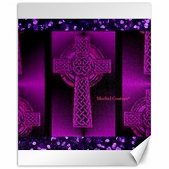 Purple Celtic Cross Canvas 16  X 20   by morbidcouture