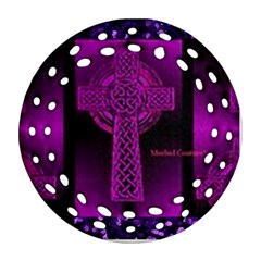 Purple Celtic Cross Ornament (round Filigree)  by morbidcouture