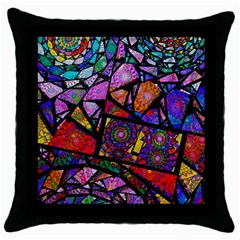 Fractal Stained Glass Throw Pillow Case (black) by WolfepawFractals
