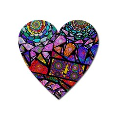 Fractal Stained Glass Heart Magnet by WolfepawFractals