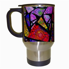 Fractal Stained Glass Travel Mugs (white) by WolfepawFractals