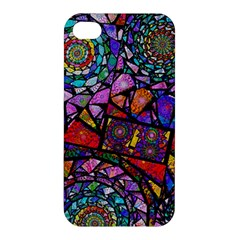 Fractal Stained Glass Apple Iphone 4/4s Hardshell Case by WolfepawFractals