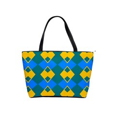 Blue Yellow Rhombus Pattern                                                                           Classic Shoulder Handbag by LalyLauraFLM