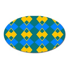 Blue Yellow Rhombus Pattern                                                                           			magnet (oval) by LalyLauraFLM