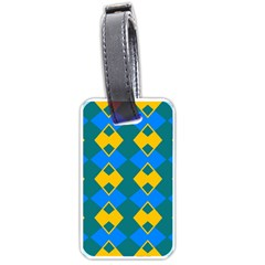 Blue Yellow Rhombus Pattern                                                                           			luggage Tag (one Side) by LalyLauraFLM