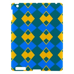 Blue Yellow Rhombus Pattern                                                                           			apple Ipad 3/4 Hardshell Case by LalyLauraFLM