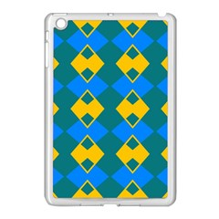 Blue Yellow Rhombus Pattern                                                                           			apple Ipad Mini Case (white) by LalyLauraFLM
