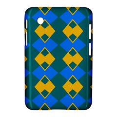 Blue Yellow Rhombus Pattern                                                                           			samsung Galaxy Tab 2 (7 ) P3100 Hardshell Case by LalyLauraFLM