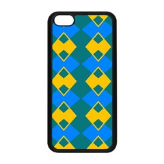 Blue Yellow Rhombus Pattern                                                                           			apple Iphone 5c Seamless Case (black) by LalyLauraFLM