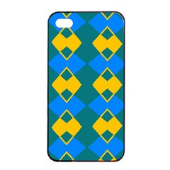 Blue Yellow Rhombus Pattern                                                                           			apple Iphone 4/4s Seamless Case (black) by LalyLauraFLM