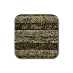 Grunge Stripes Print Rubber Coaster (square)  by dflcprints