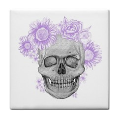 Lilac Floral Skull  Face Towel by Coralascanbe