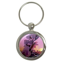 Pinkfloral Key Chain (round)
