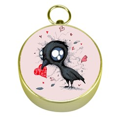 Baby Crow  Gold Compasses by lvbart