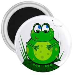 Green Frog 3  Magnets by Valentinaart