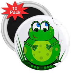 Green Frog 3  Magnets (10 Pack)  by Valentinaart