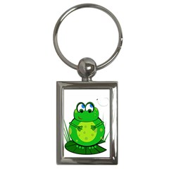 Green Frog Key Chains (rectangle)  by Valentinaart